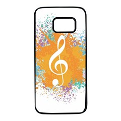 Musical Notes Samsung Galaxy S7 Black Seamless Case by Mariart