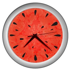 Summer Watermelon Design Wall Clocks (silver)  by TastefulDesigns