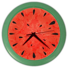 Summer Watermelon Design Color Wall Clocks by TastefulDesigns