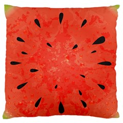 Summer Watermelon Design Large Flano Cushion Case (one Side) by TastefulDesigns