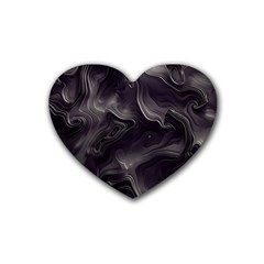 Map Curves Dark Rubber Coaster (heart)  by Mariart
