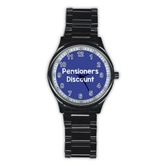 Pensioners Discount Sale Blue Stainless Steel Round Watch by Mariart