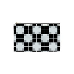 Plaid Black White Cosmetic Bag (small)  by Mariart