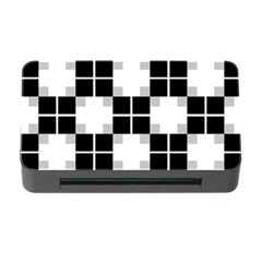Plaid Black White Memory Card Reader With Cf by Mariart