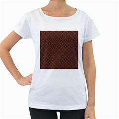 Coloured Line Squares Brown Plaid Chevron Women s Loose Fit T Shirt (white) by Mariart