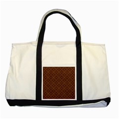 Coloured Line Squares Brown Plaid Chevron Two Tone Tote Bag by Mariart