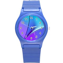 Line Blue Light Space Purple Round Plastic Sport Watch (s) by Mariart