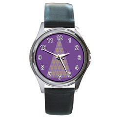 Pyramid Triangle  Purple Round Metal Watch by Mariart