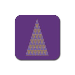 Pyramid Triangle  Purple Rubber Square Coaster (4 Pack)  by Mariart