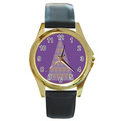 Pyramid Triangle  Purple Round Gold Metal Watch by Mariart