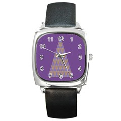 Pyramid Triangle  Purple Square Metal Watch by Mariart