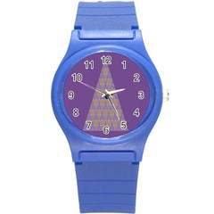 Pyramid Triangle  Purple Round Plastic Sport Watch (s) by Mariart