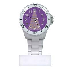 Pyramid Triangle  Purple Plastic Nurses Watch by Mariart