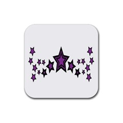 Star Purple Space Rubber Square Coaster (4 Pack)  by Mariart