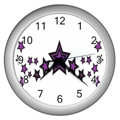Star Purple Space Wall Clocks (silver)  by Mariart