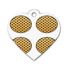 Star Circle Orange Round Polka Dog Tag Heart (one Side) by Mariart