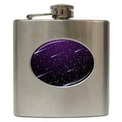 Starry Night Sky Meteor Stock Vectors Clipart Illustrations Hip Flask (6 Oz) by Mariart