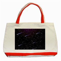 Starry Night Sky Meteor Stock Vectors Clipart Illustrations Classic Tote Bag (red) by Mariart