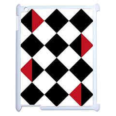 Survace Floor Plaid Bleck Red White Apple Ipad 2 Case (white) by Mariart