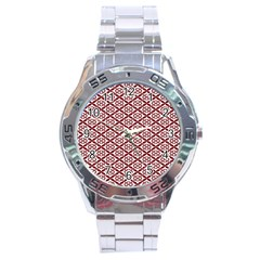 Pattern Kawung Star Line Plaid Flower Floral Red Stainless Steel Analogue Watch by Mariart