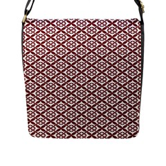 Pattern Kawung Star Line Plaid Flower Floral Red Flap Messenger Bag (l)  by Mariart