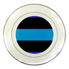 Tomboy Playboy Flag Blue Black Mline Porcelain Plates by Mariart