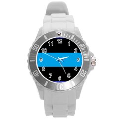 Tomboy Playboy Flag Blue Black Mline Round Plastic Sport Watch (l) by Mariart