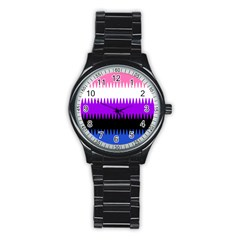 Sychnogender Techno Genderfluid Flags Wave Waves Chevron Stainless Steel Round Watch by Mariart