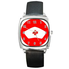 Tabla Laboral Sign Red White Square Metal Watch by Mariart