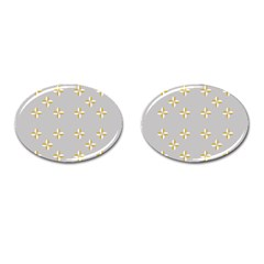 Syrface Flower Floral Gold White Space Star Cufflinks (oval) by Mariart