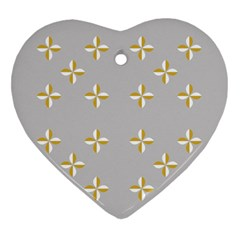 Syrface Flower Floral Gold White Space Star Heart Ornament (two Sides) by Mariart