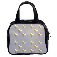 Syrface Flower Floral Gold White Space Star Classic Handbags (2 Sides) by Mariart