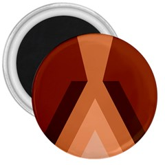 Volcano Lava Gender Magma Flags Line Brown 3  Magnets by Mariart