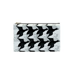 Swan Black Animals Fly Cosmetic Bag (small)  by Mariart
