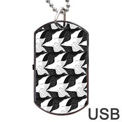 Swan Black Animals Fly Dog Tag Usb Flash (one Side) by Mariart