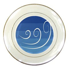 Ventigender Flags Wave Waves Chevron Leaf Blue White Porcelain Plates by Mariart