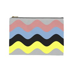 Wave Waves Chevron Sea Beach Rainbow Cosmetic Bag (large)  by Mariart