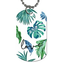 Palm Leaves Monstera Love Dog Tag (one Sided) by pushu