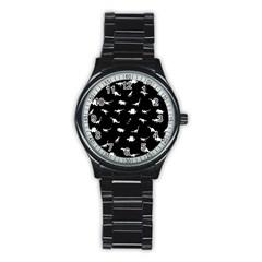 Dinosaurs Pattern Stainless Steel Round Watch by Valentinaart