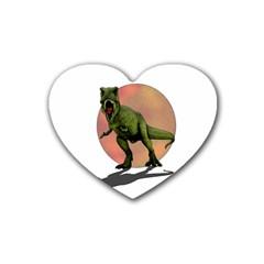 Dinosaurs T Rex Rubber Coaster (heart)  by Valentinaart