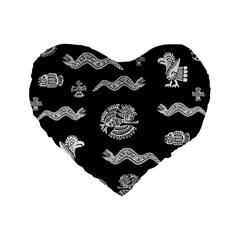 Aztecs Pattern Standard 16  Premium Heart Shape Cushions by Valentinaart