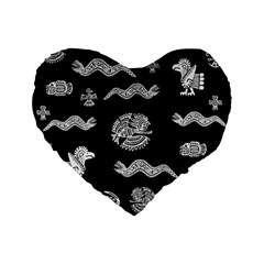 Aztecs Pattern Standard 16  Premium Flano Heart Shape Cushions by Valentinaart