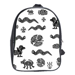 Aztecs Pattern School Bags (xl)  by Valentinaart