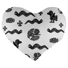 Aztecs Pattern Large 19  Premium Heart Shape Cushions by Valentinaart