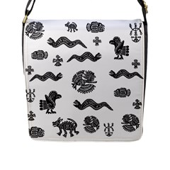 Aztecs Pattern Flap Messenger Bag (l)  by Valentinaart