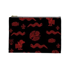 Aztecs Pattern Cosmetic Bag (large)  by Valentinaart