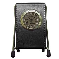 Aztecs Pattern Pen Holder Desk Clocks by Valentinaart