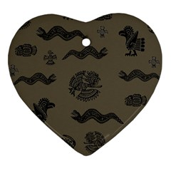 Aztecs Pattern Heart Ornament (two Sides) by Valentinaart