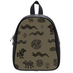 Aztecs Pattern School Bags (small)  by Valentinaart