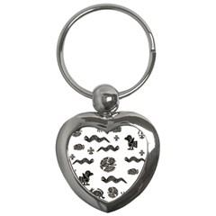 Aztecs Pattern Key Chains (heart)  by Valentinaart